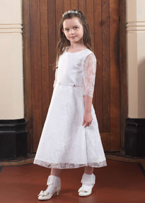 Short Lace Communion Dress With Sleeves