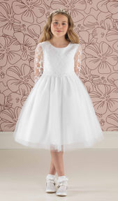 Short Communion Dress with Lace Bodice