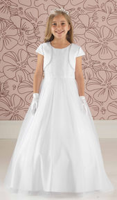 Tulle Communion Gown with Pearl Bodice
