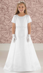 Satin A Line Communion Dress with Sleeves