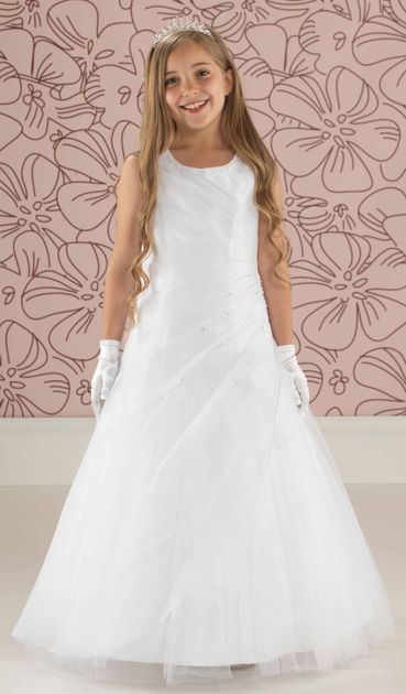Side Ruched Beaded Communion Dress