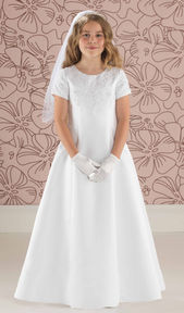 Satin A Line Communion Dress with Lace Detail