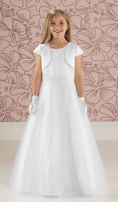 Full Length Tulle Communion Beaded Dress