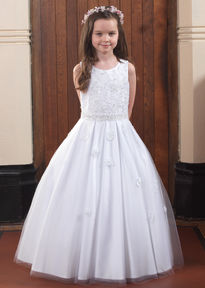 Satin Pleated Skirt Communion Dress