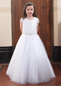 Full Skirt Communion Gown with Short Sleeves