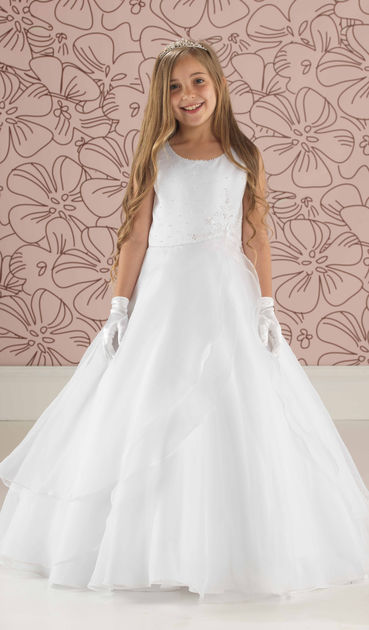 Beaded Satin Communion Dress With Layered Organza Skirt