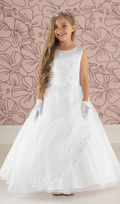 Beaded Satin Communion Dress with Organza Skirt
