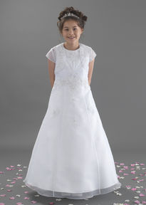 Beaded Lace Organza Communion Dress & Jacket