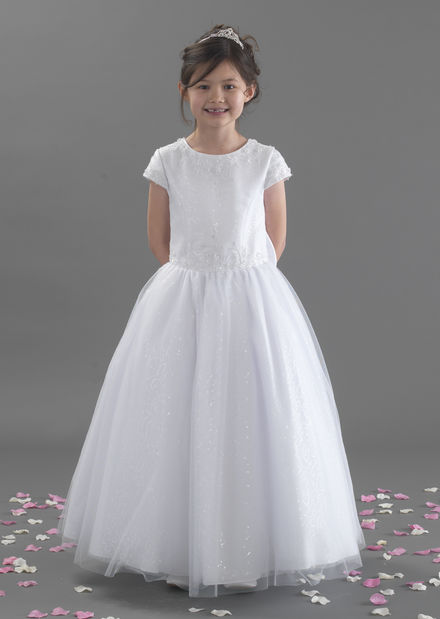 Beaded Sequin Communion Dress with Short Sleeves