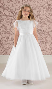 Full Length Tulle Communion Dress with Floaty Sleeves