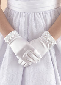 Satin Gloves with Flowers