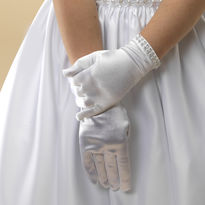 Diamante Trim Satin Gloves