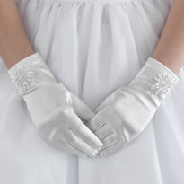 Beaded Flower Design Satin Gloves