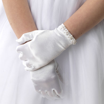 Pearl Edge Satin Gloves