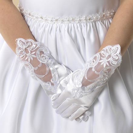 Satin and Beaded Lace Gloves