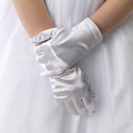 Plain Satin Wrist Length Gloves