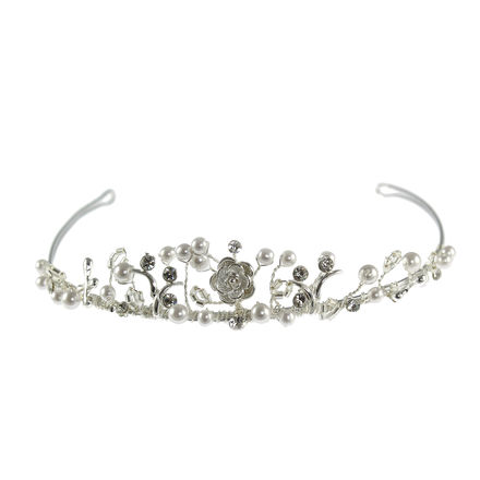 Pearl Tiara with cross and flower charm