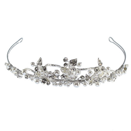 Pearl & Diamante Leaf & Loop Communion Headdress