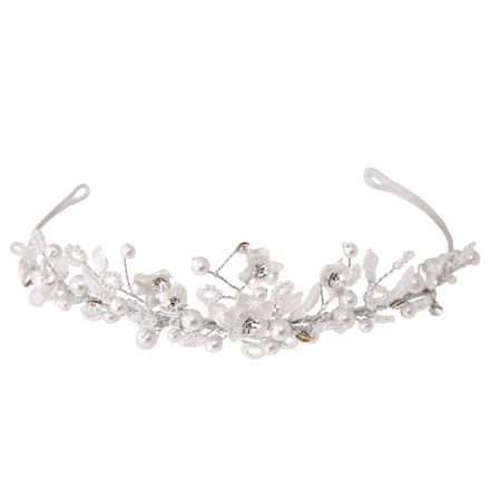 Flowers & Leaves Beaded Tiara