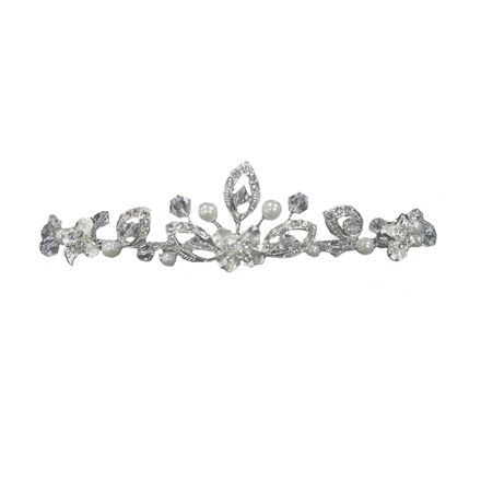 Silver Diamante and Pearl Tiara