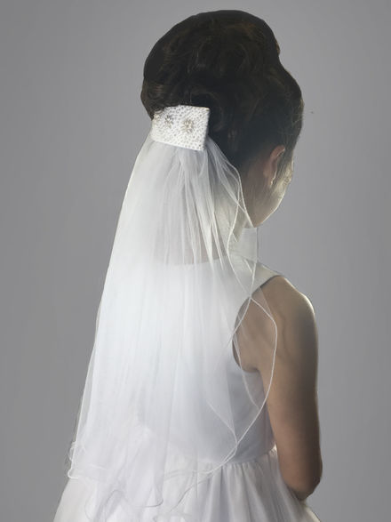 Beaded Hair Clip with Plain Veil Attached