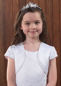 Satin Communion Jacket with Short Lace Sleeves
