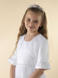 Elbow Length Communion Jacket with Peplum Sleeves