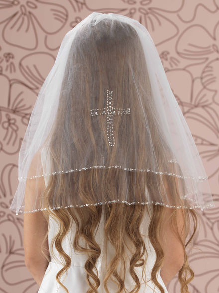 Combed Veil with Crystal Sequin Edge and Cross