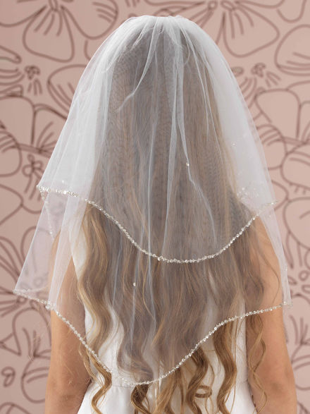 Beaded Sequin Edge Communion Veil