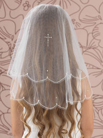 Pearl & Diamante Cross Embroidered Veil