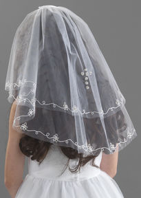 Diamante Cross & Flower Embroidered Veil