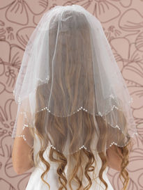 Scalloped Pearl & Sequin Edged Communion Veil