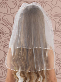 Straight 2 Tier Pearl Edged Veil