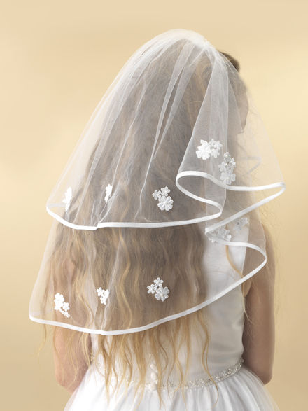 Two Tier Embroidered Floral Communion Veil