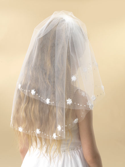 Diamante & Flower Trim Communion Veil