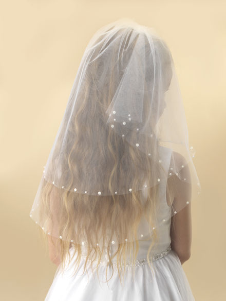 Small Flower and Pearl Communion Veil
