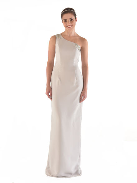 One Shoulder Chiffon Straight Dress with Trim
