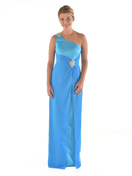 Satin & Chiffon Straight Dress with Trim on Ruching