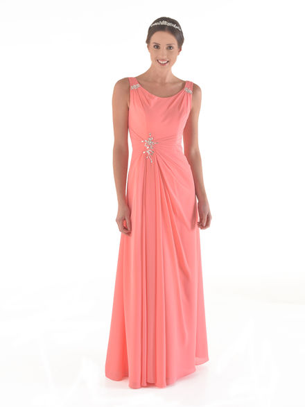 Chiffon Beaded Dress with Straps
